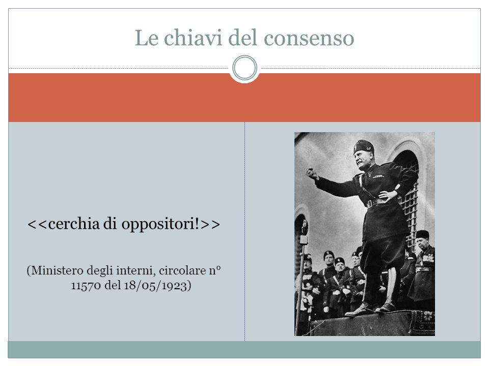 > (Ministero degli interni, circolare n° 11570 del 18/05/1923) Le chiavi del consenso