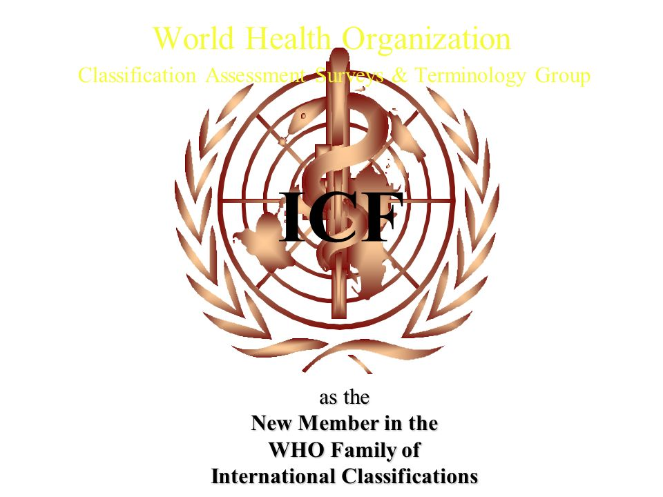 ICF World Health Organization Classification Assessment Surveys & Terminology Group as the New Member in the WHO Family of International Classificatio