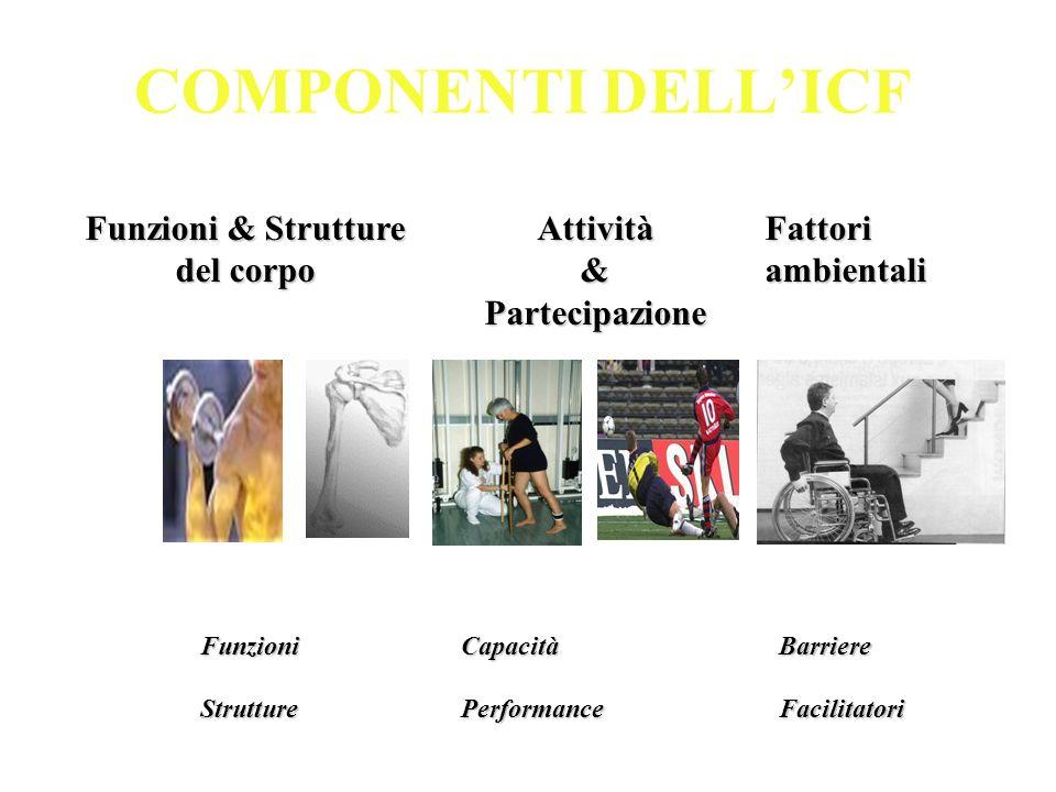 COMPONENTI DELLICF Funzioni & Strutture del corpo Attività&Partecipazione Fattori ambientali BarriereFacilitatoriFunzioniStruttureCapacitàPerformance