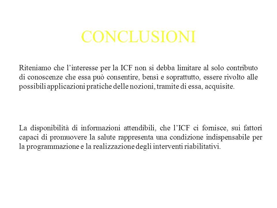 CONCLUSIONI Riteniamo che linteresse per la ICF non si debba limitare al solo contributo di conoscenze che essa può consentire, bensì e soprattutto, e