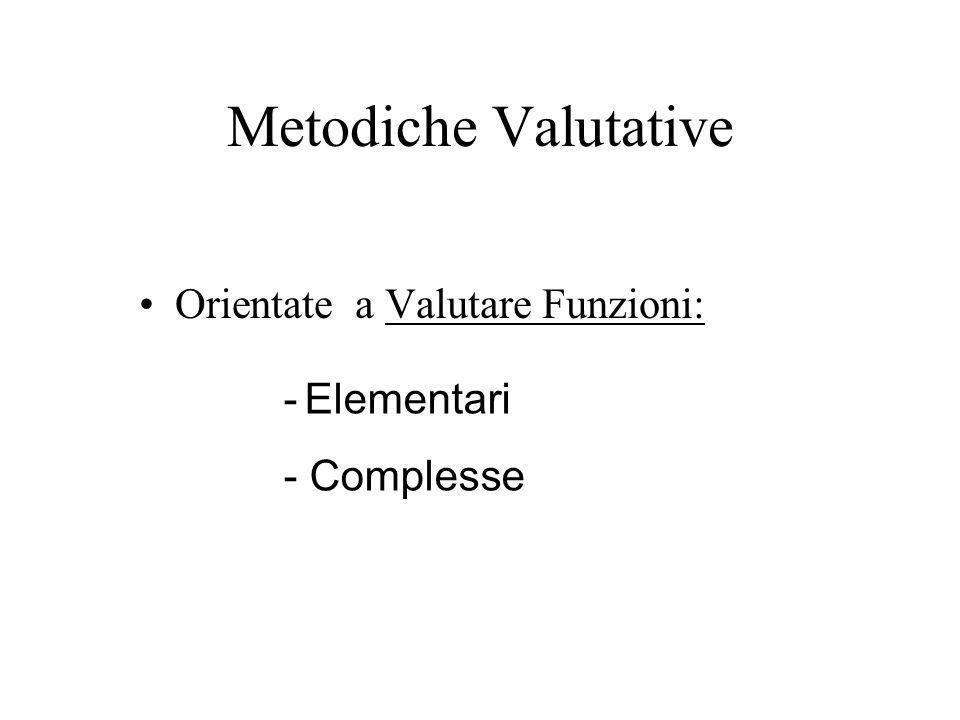 Metodiche Valutative Orientate a Valutare Funzioni: - Elementari - Complesse