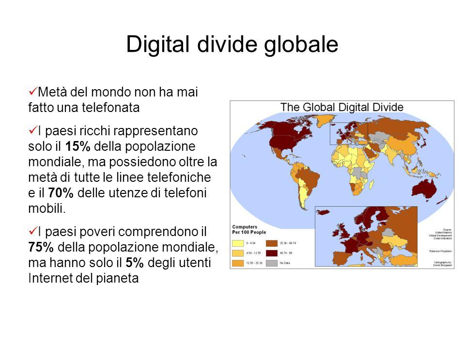 Digital divide globale Metà del mondo non ha mai fatto una telefonata I paesi ricchi rappresentano solo il 15% della popolazione mondiale, ma possiedo