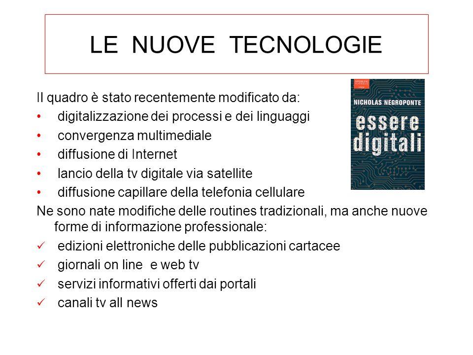 LE NUOVE TECNOLOGIE Il quadro è stato recentemente modificato da: digitalizzazione dei processi e dei linguaggi convergenza multimediale diffusione di
