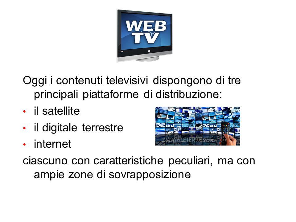Oggi i contenuti televisivi dispongono di tre principali piattaforme di distribuzione: il satellite il digitale terrestre internet ciascuno con caratt