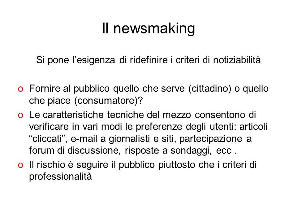 Il newsmaking Si pone lesigenza di ridefinire i criteri di notiziabilità oFornire al pubblico quello che serve (cittadino) o quello che piace (consuma