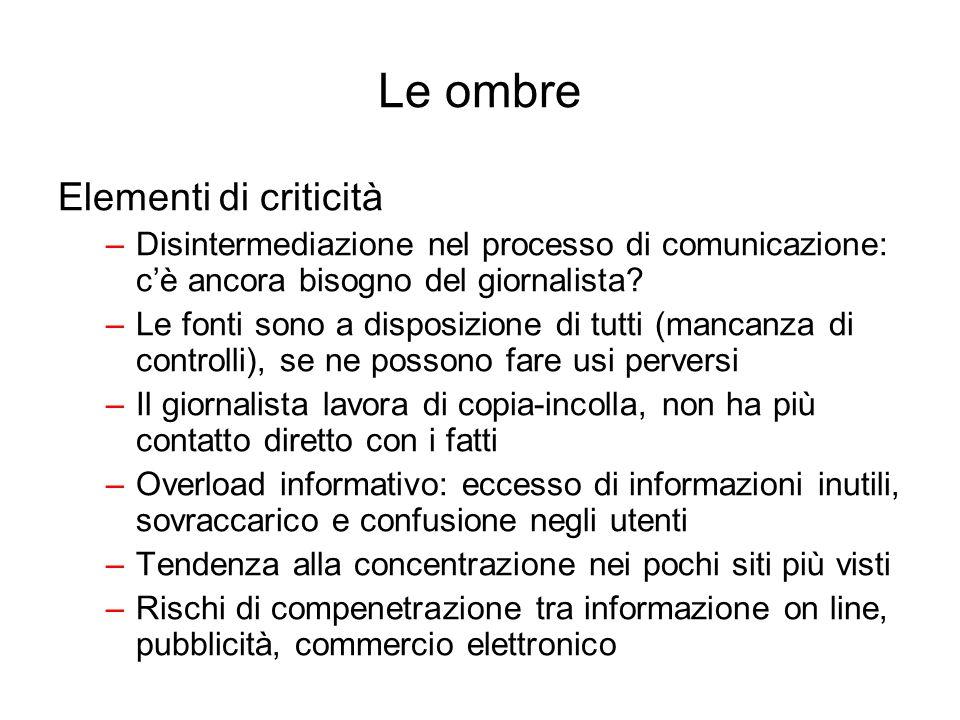 Le ombre Elementi di criticità –Disintermediazione nel processo di comunicazione: cè ancora bisogno del giornalista? –Le fonti sono a disposizione di