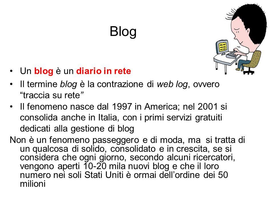 Blog Un blog è un diario in rete Il termine blog è la contrazione di web log, ovvero traccia su rete Il fenomeno nasce dal 1997 in America; nel 2001 s