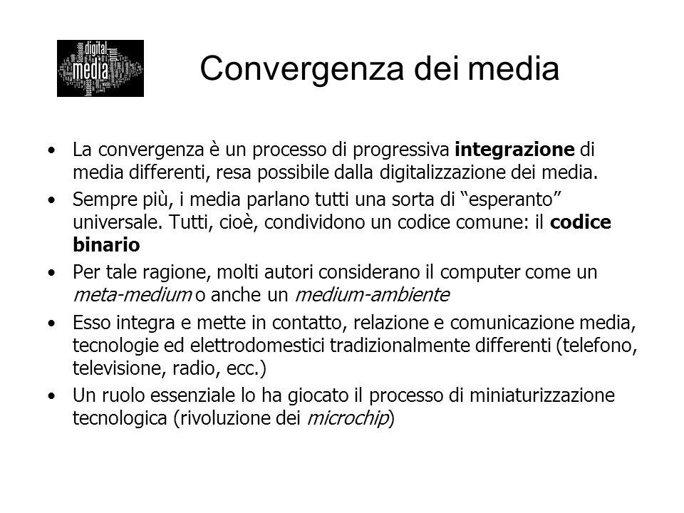 Convergenza dei media La convergenza è un processo di progressiva integrazione di media differenti, resa possibile dalla digitalizzazione dei media. S