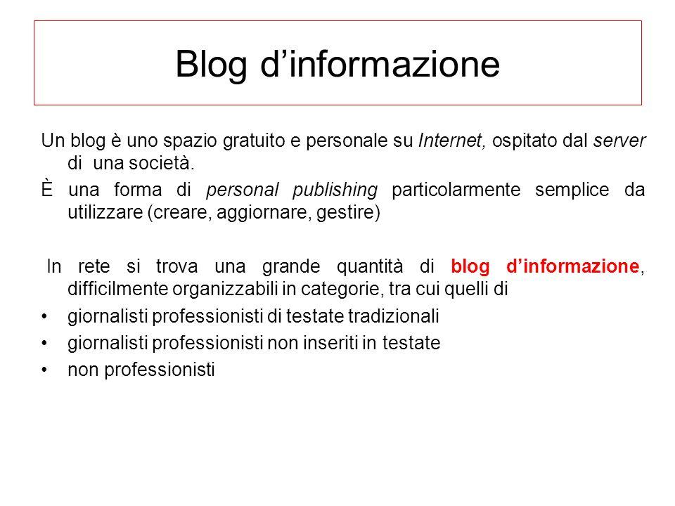 Blog dinformazione Un blog è uno spazio gratuito e personale su Internet, ospitato dal server di una società. È una forma di personal publishing parti