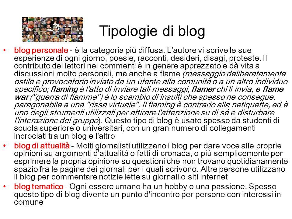 Tipologie di blog blog personale - è la categoria più diffusa. L'autore vi scrive le sue esperienze di ogni giorno, poesie, racconti, desideri, disagi