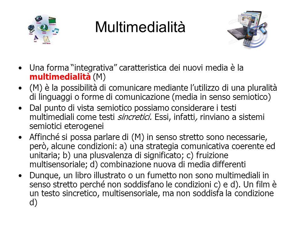 Multimedialità Una forma integrativa caratteristica dei nuovi media è la multimedialità (M) (M) è la possibilità di comunicare mediante lutilizzo di u