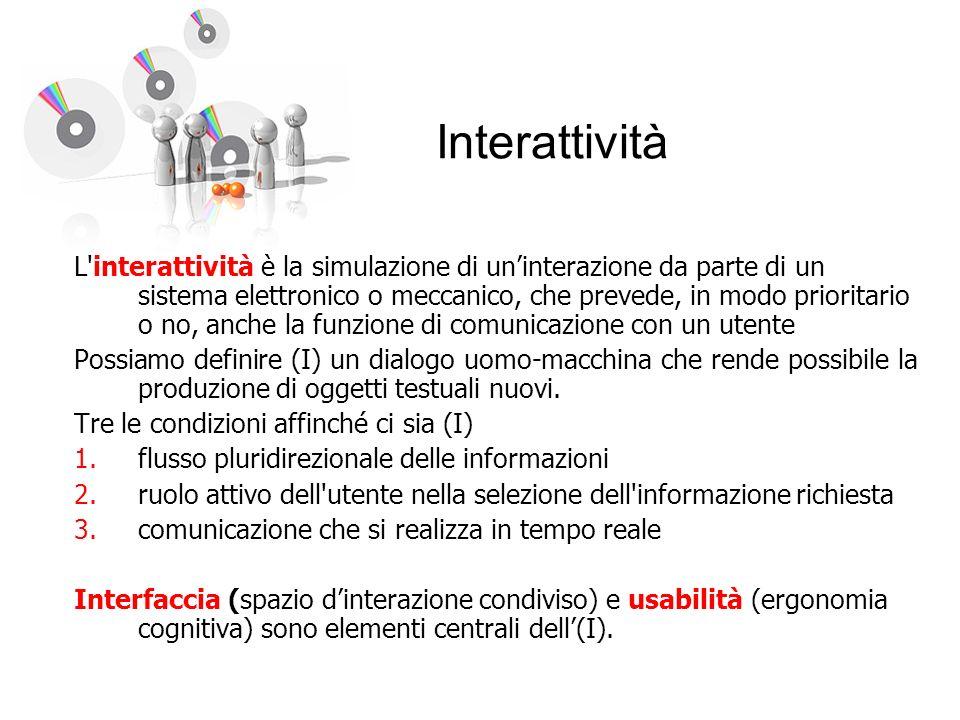 Interattività L'interattività è la simulazione di uninterazione da parte di un sistema elettronico o meccanico, che prevede, in modo prioritario o no,