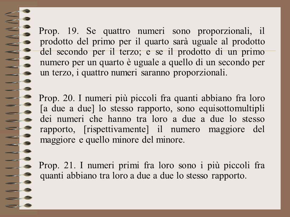 Prop. 19. Se quattro numeri sono proporzionali, il prodotto del primo per il quarto sarà uguale al prodotto del secondo per il terzo; e se il prodotto