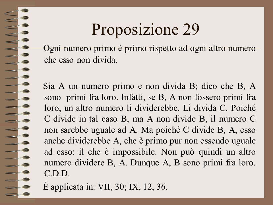 Proposizione 29 Ogni numero primo è primo rispetto ad ogni altro numero che esso non divida. Sia A un numero primo e non divida B; dico che B, A sono