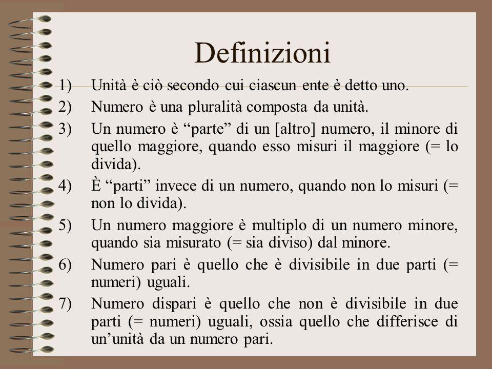Definizioni 1)Unità è ciò secondo cui ciascun ente è detto uno. 2)Numero è una pluralità composta da unità. 3)Un numero è parte di un [altro] numero,