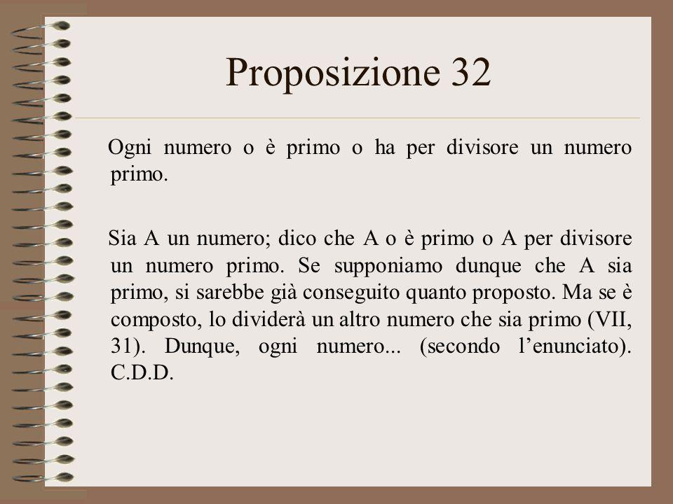 Proposizione 32 Ogni numero o è primo o ha per divisore un numero primo. Sia A un numero; dico che A o è primo o A per divisore un numero primo. Se su