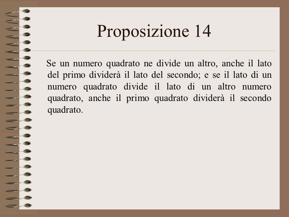 Proposizione 14 Se un numero quadrato ne divide un altro, anche il lato del primo dividerà il lato del secondo; e se il lato di un numero quadrato div