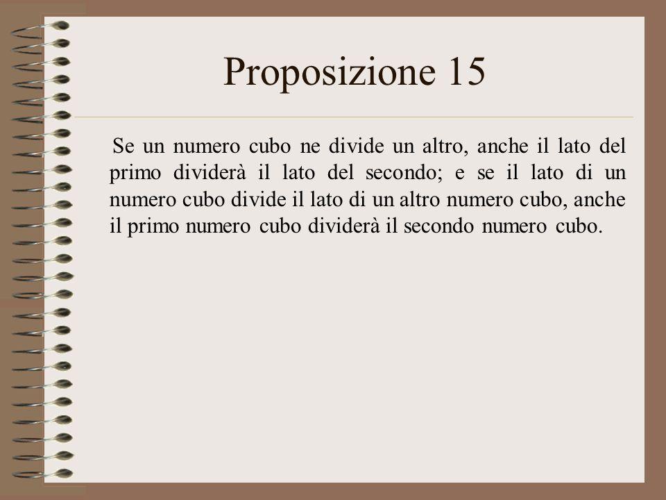 Proposizione 15 Se un numero cubo ne divide un altro, anche il lato del primo dividerà il lato del secondo; e se il lato di un numero cubo divide il l