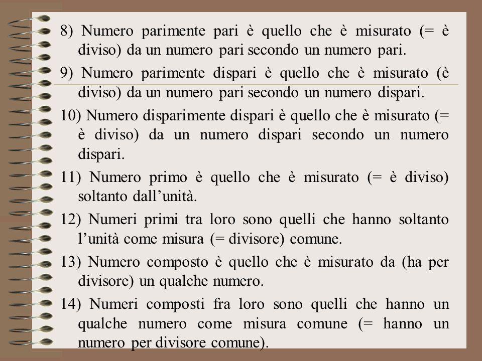 8) Numero parimente pari è quello che è misurato (= è diviso) da un numero pari secondo un numero pari. 9) Numero parimente dispari è quello che è mis