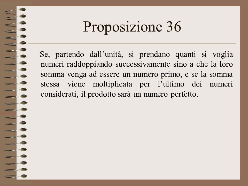 Proposizione 36 Se, partendo dallunità, si prendano quanti si voglia numeri raddoppiando successivamente sino a che la loro somma venga ad essere un numero primo, e se la somma stessa viene moltiplicata per lultimo dei numeri considerati, il prodotto sarà un numero perfetto.