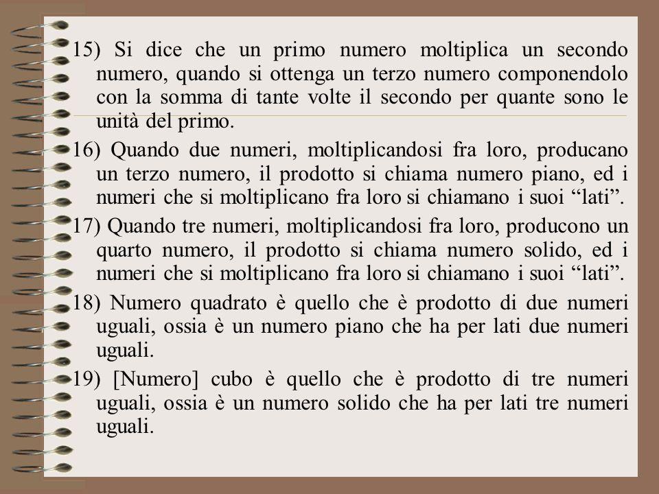 15) Si dice che un primo numero moltiplica un secondo numero, quando si ottenga un terzo numero componendolo con la somma di tante volte il secondo pe