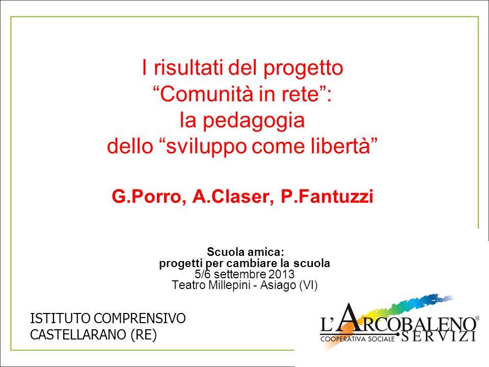 I risultati del progetto Comunità in rete: la pedagogia dello sviluppo come libertà G.Porro, A.Claser, P.Fantuzzi Scuola amica: progetti per cambiare