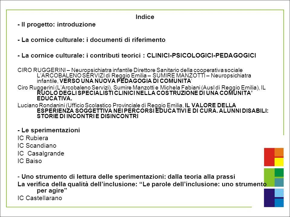 Indice - Il progetto: introduzione - La cornice culturale: i documenti di riferimento - La cornice culturale: i contributi teorici : CLINICI-PSICOLOGI