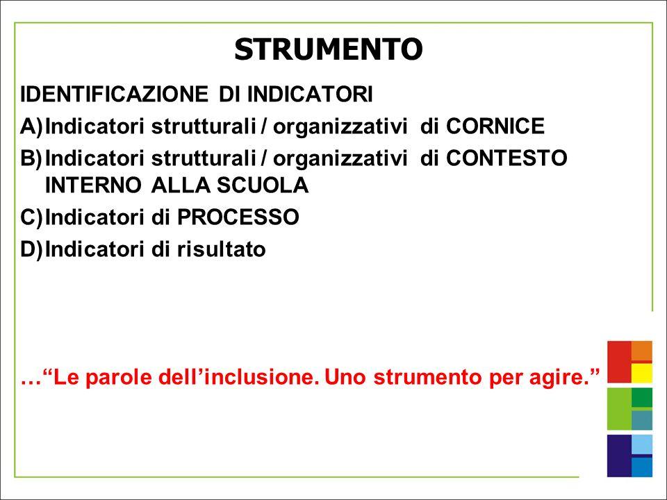 STRUMENTO IDENTIFICAZIONE DI INDICATORI A)Indicatori strutturali / organizzativi di CORNICE B)Indicatori strutturali / organizzativi di CONTESTO INTER