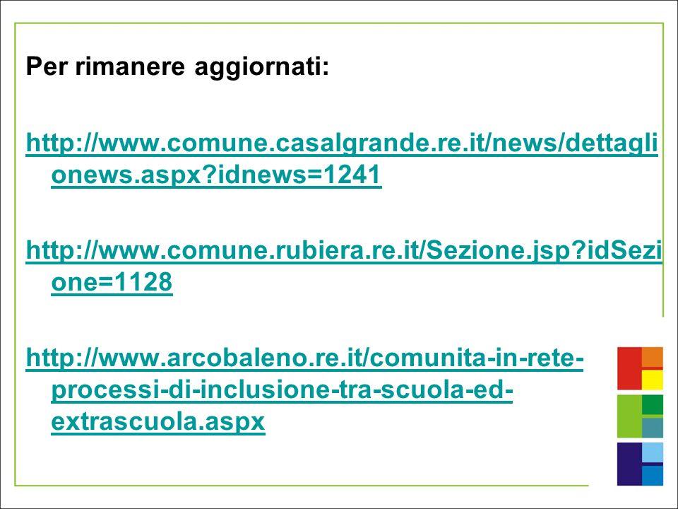 Per rimanere aggiornati: http://www.comune.casalgrande.re.it/news/dettagli onews.aspx?idnews=1241 http://www.comune.rubiera.re.it/Sezione.jsp?idSezi o