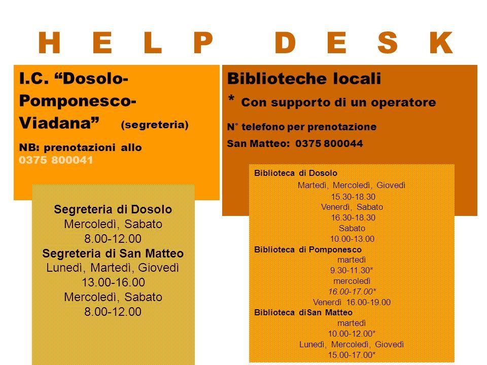 I.C. Dosolo- Pomponesco- Viadana (segreteria) NB: prenotazioni allo 0375 800041 H E L P D E S K Biblioteche locali * Con supporto di un operatore N° t