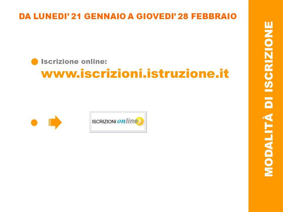 DA LUNEDI 21 GENNAIO A GIOVEDI 28 FEBBRAIO Iscrizione online: www.iscrizioni.istruzione.it MODALITÀ DI ISCRIZIONE