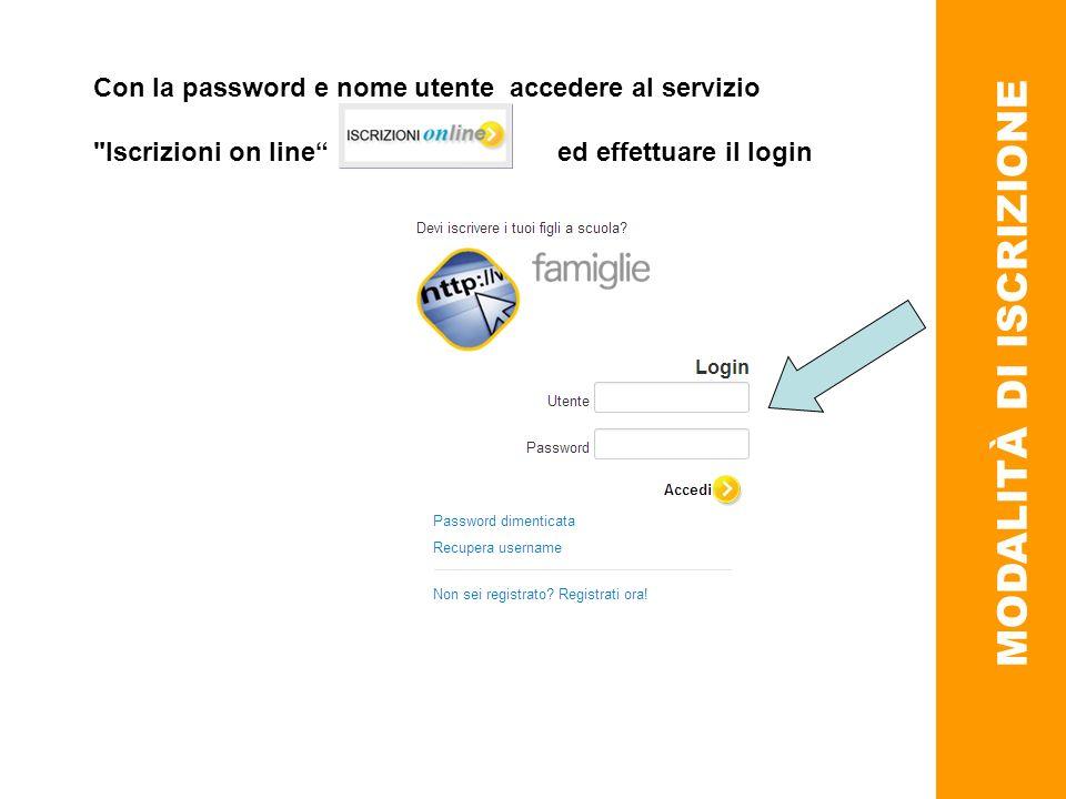 MODALITÀ DI ISCRIZIONE Con la password e nome utente accedere al servizio Iscrizioni on line ed effettuare il login