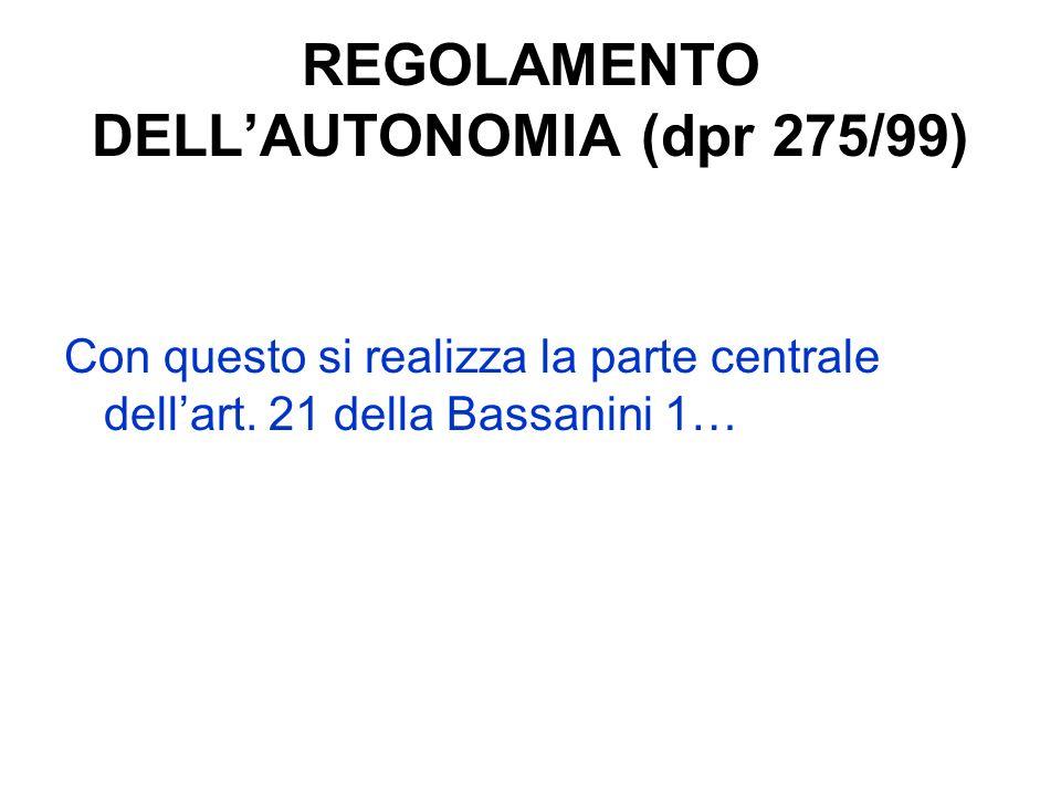 REGOLAMENTO DELLAUTONOMIA (dpr 275/99) Con questo si realizza la parte centrale dellart. 21 della Bassanini 1…
