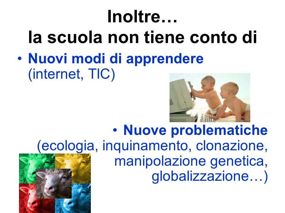 Inoltre… la scuola non tiene conto di Nuovi modi di apprendere (internet, TIC) Nuove problematiche (ecologia, inquinamento, clonazione, manipolazione