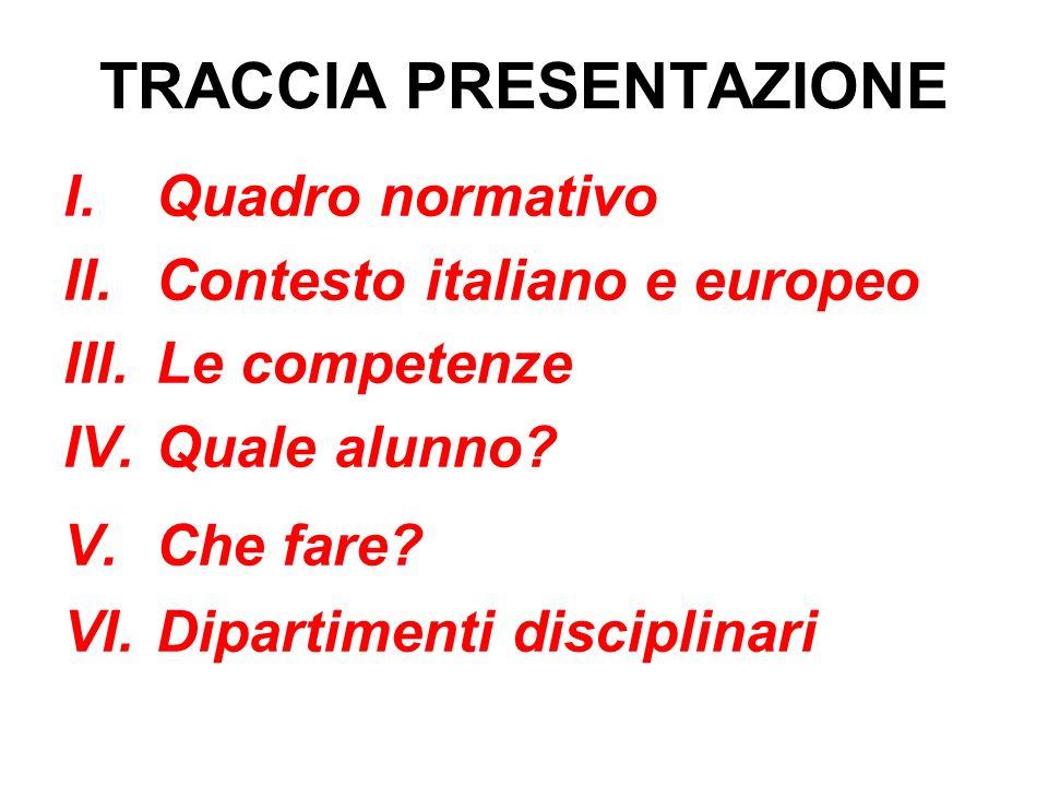 TRACCIA PRESENTAZIONE I.Quadro normativo II.Contesto italiano e europeo III.Le competenze IV.Quale alunno? V.Che fare? VI.Dipartimenti disciplinari