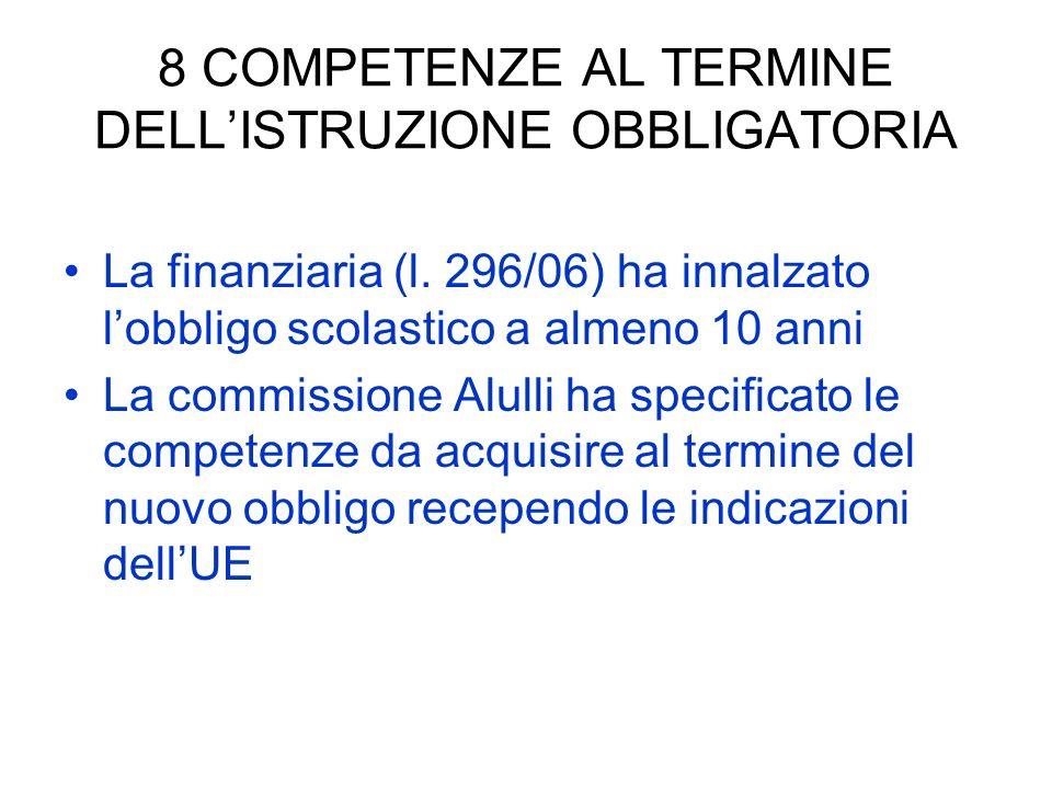 8 COMPETENZE AL TERMINE DELLISTRUZIONE OBBLIGATORIA La finanziaria (l. 296/06) ha innalzato lobbligo scolastico a almeno 10 anni La commissione Alulli