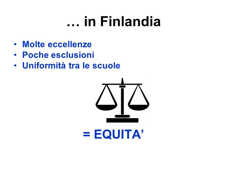 … in Finlandia Molte eccellenze Poche esclusioni Uniformità tra le scuole = EQUITA