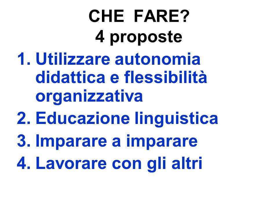 CHE FARE? 4 proposte 1.Utilizzare autonomia didattica e flessibilità organizzativa 2.Educazione linguistica 3.Imparare a imparare 4.Lavorare con gli a