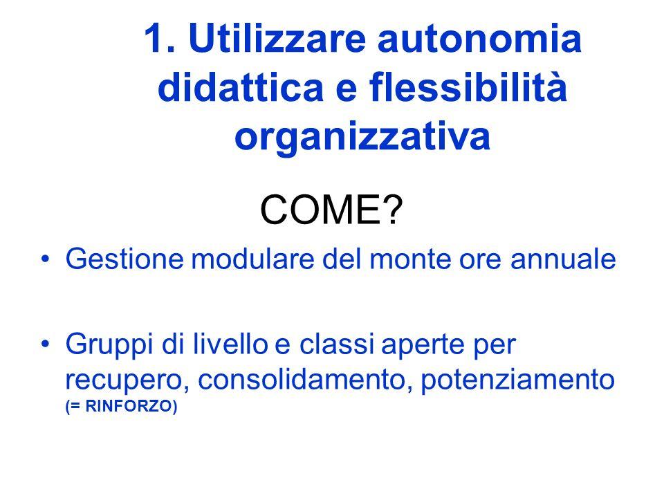 1. Utilizzare autonomia didattica e flessibilità organizzativa COME? Gestione modulare del monte ore annuale Gruppi di livello e classi aperte per rec
