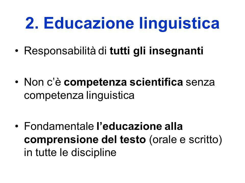 2. Educazione linguistica Responsabilità di tutti gli insegnanti Non cè competenza scientifica senza competenza linguistica Fondamentale leducazione a