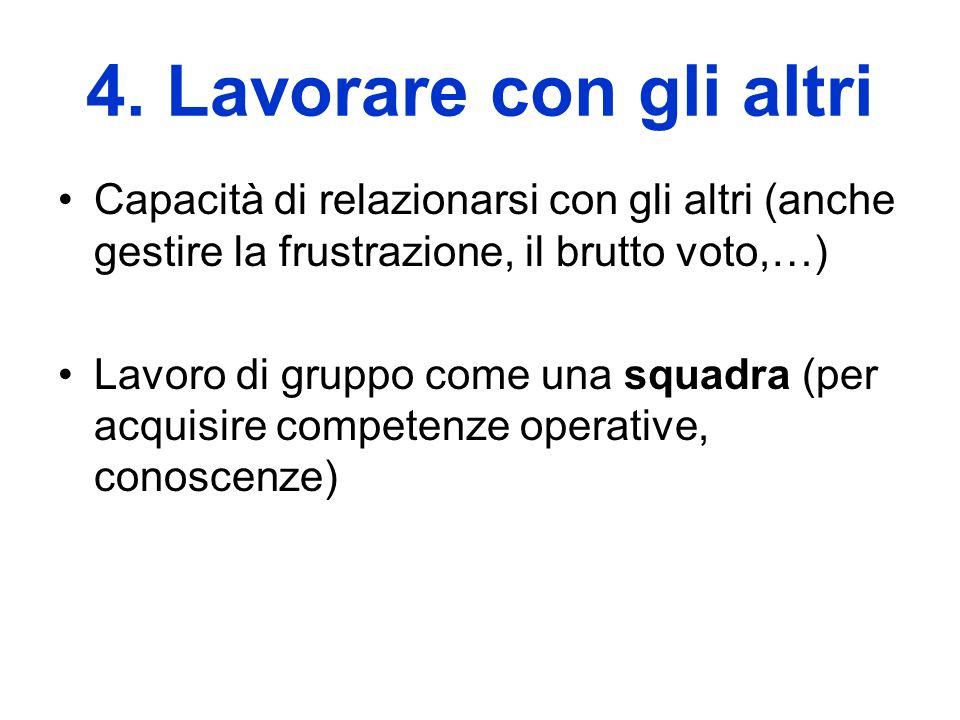 4. Lavorare con gli altri Capacità di relazionarsi con gli altri (anche gestire la frustrazione, il brutto voto,…) Lavoro di gruppo come una squadra (