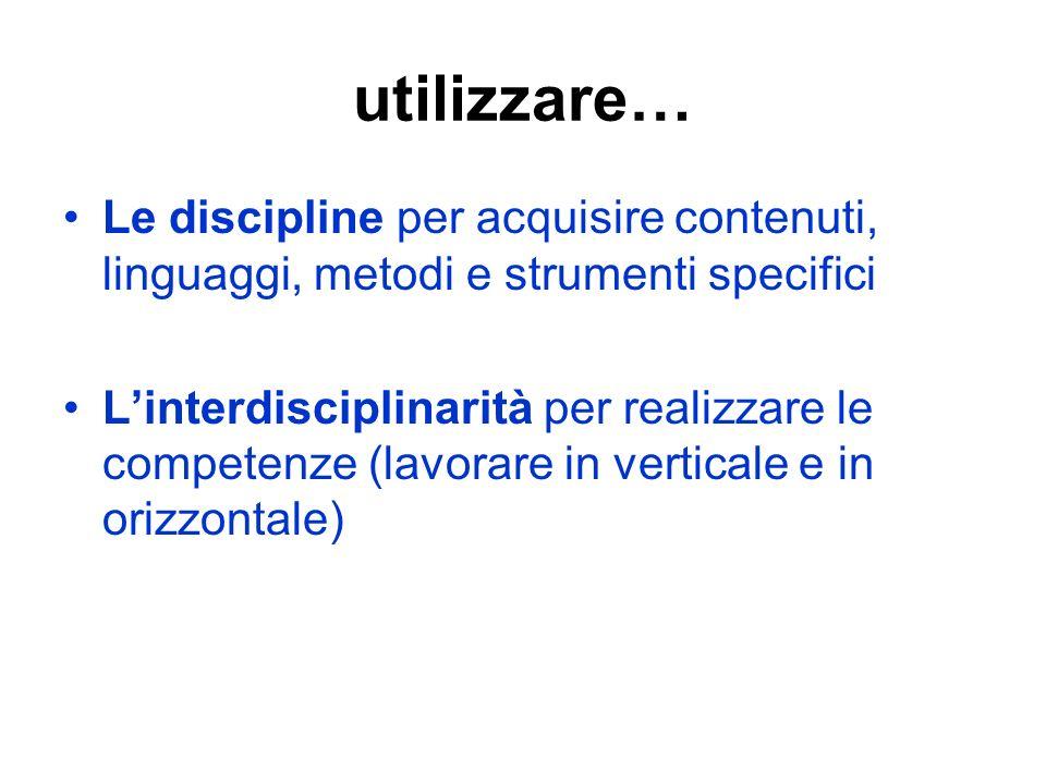 utilizzare… Le discipline per acquisire contenuti, linguaggi, metodi e strumenti specifici Linterdisciplinarità per realizzare le competenze (lavorare