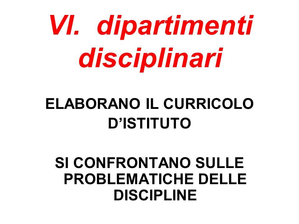 VI. dipartimenti disciplinari ELABORANO IL CURRICOLO DISTITUTO SI CONFRONTANO SULLE PROBLEMATICHE DELLE DISCIPLINE