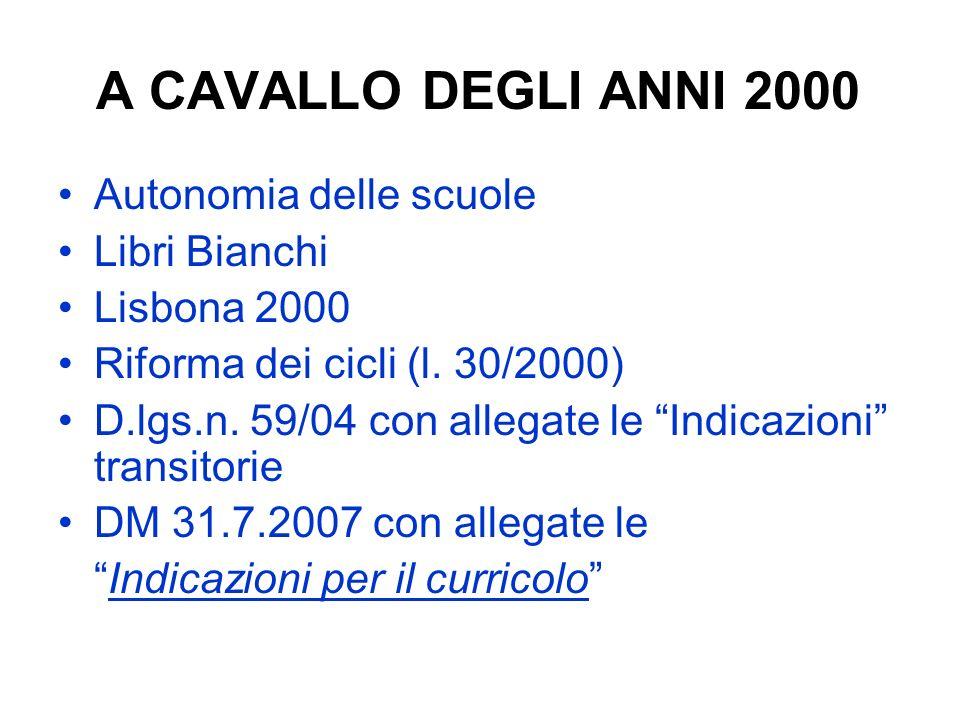 A CAVALLO DEGLI ANNI 2000 Autonomia delle scuole Libri Bianchi Lisbona 2000 Riforma dei cicli (l. 30/2000) D.lgs.n. 59/04 con allegate le Indicazioni