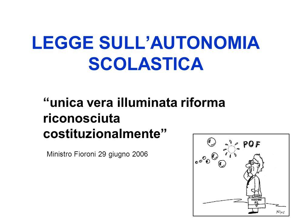 LEGGE SULLAUTONOMIA SCOLASTICA unica vera illuminata riforma riconosciuta costituzionalmente Ministro Fioroni 29 giugno 2006