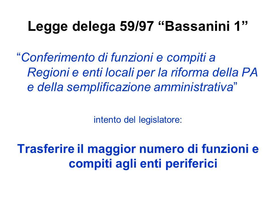 Legge delega 59/97 Bassanini 1 Conferimento di funzioni e compiti a Regioni e enti locali per la riforma della PA e della semplificazione amministrati