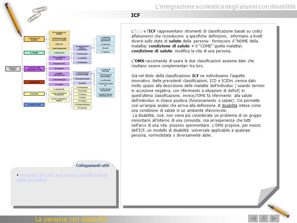 Lintegrazione scolastica degli alunni con disabilità ICF LICD e lICF rappresentano strumenti di classificazione basati su codici alfanumerici che rico