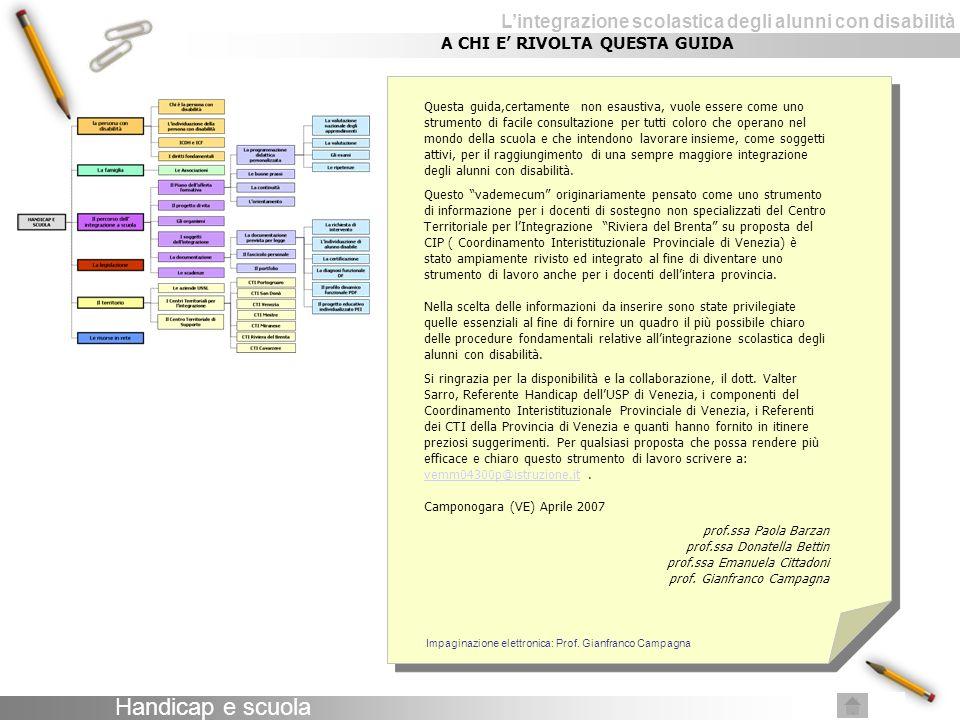 Lintegrazione scolastica degli alunni con disabilità LE RISORSE in rete SITI ISTITUZIONALI Ministero della pubblica istruzione http://www.pubblica.istruzione.it/ http://www.pubblica.istruzione.it/ USRV Ufficio Scolastico Regionale per il Veneto http://www.istruzioneveneto.it/ http://www.istruzioneveneto.it/ USP Ufficio scolastico Provinciale – Venezia http://www.istruzionevenezia.it/ http://www.istruzionevenezia.it/ SITI DI INTERESSE GENERALE Portale italiano sulle tecnologie didattiche per l handicap http://handitecno.indire.it/ http://handitecno.indire.it/ Web accessibile, risorsa in lingua italiana sull accessibilità http://www.webaccessibile.org/ http://www.webaccessibile.org/ Disabili.com http://www.disabili.com/ http://www.disabili.com/ No Limit - sito dedicato alla disabilità http://www.nolimit.it/home/default.asp http://www.nolimit.it/home/default.asp Superabile.it, portale di informazione e di documentazione sul mondo della disabilità Inail http://www.superabile.ithttp://www.superabile.it Le risorse in rete continua