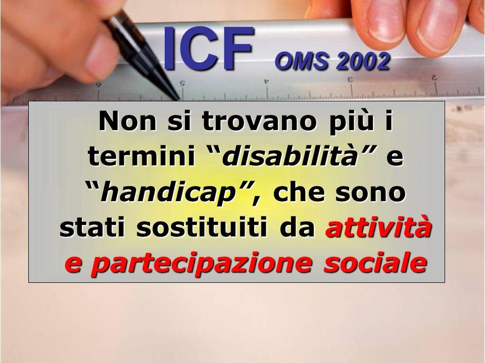 ICF OMS 2002 Non si trovano più i termini disabilità ehandicap, che sono stati sostituiti da attività e partecipazione sociale