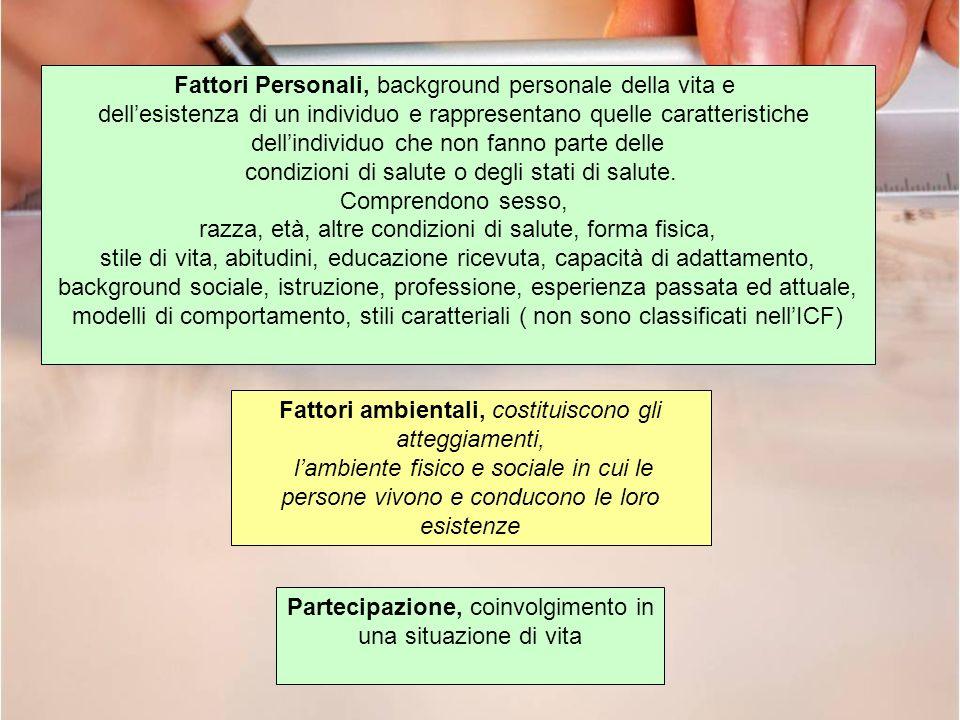 Fattori Personali, background personale della vita e dellesistenza di un individuo e rappresentano quelle caratteristiche dellindividuo che non fanno